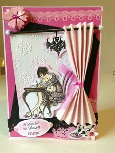 Crafters Companion stamp, love the use of the curtain giving the card loads of dimension Kanban Cards, Paper Crafts, Diy Crafts, Frou Frou, Crafters Companion, Tag Art, Cool Cards, Vintage Cards, Mini Albums