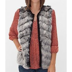 Women's Faux Fur Vest in Black/Grey by Daytrip. featuring polyvore fashion clothing outerwear vests daytrip vest waistcoat black fake fur vest black vest grey vest