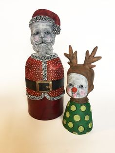 Santa Ghost Baby and Rudolph Pinhead by Flora Art Studio Flora, Santa, Christmas Ornaments, Studio, Holiday Decor, Artwork, Baby, Work Of Art, Christmas Jewelry