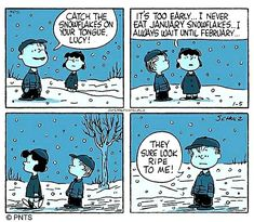 #peanutsspecials #ps #pnts #schulz #linus #lucy #catch #snowflakes #tongue #early #january #february #look #ripe