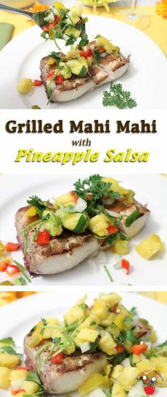 Grilled mahi mahi is a quick & easy dinner that is delicious and healthy! Take it up a notch by topping it with our fresh, sweet & tangy pineapple salsa.  via @2CookinMamas
