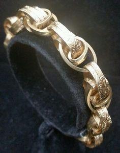 Victorian 14 Karat Pink Gold Charm Bracelet Flower Design 42 Gram Jewelry  #Handmade #Statement
