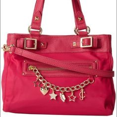 FINAL! Juicy Couture Brentwood mini daydreamer Authentic Juicy, not from Kohl's. Nylon material. It's hot pink, the lighting in my house is terrible at night. see stock photo for true color. Like new. Used for 1 month. Only signs of wear are on the back bottom corners from rubbing on jeans. Not noticeable when using. All charms are still on purse & the one star is not missin any rhinestones. Comes with the long crossbody strap, can be removed. These sell for $100 and up in the same…