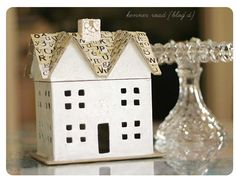 """kenner road chipboard house with girls paperie alpha """"shingles"""" - love this!"""