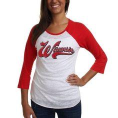 #Wisconsin #Badgers Women's Burnout Baseball Raglan - White