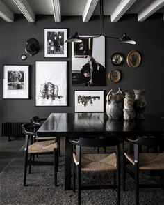 French interior design firm Maison Hand creates a moody atmosphere with a charcoal and black palette and shapely furniture. Dark Walls, Grey Walls, Charcoal Walls, Grey Interior Design, French Interior, Interior Office, Contemporary Interior, Dark Interiors, Deco Design