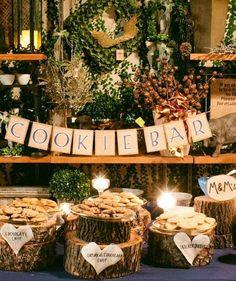 Photographer: Abby Rose Photo; Cookie Bar: rustic wedding dessert table