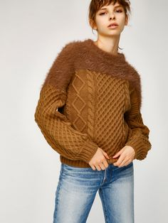 marron glacé   pullover tricot brown knit sweater