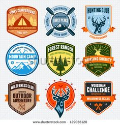 Set of outdoor adventure badges and hunting logo emblems - stock vector