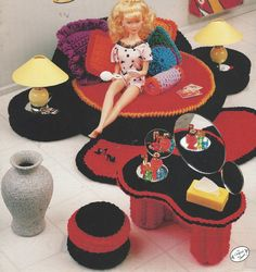 90s Bedroom Jazz Crochet Doll Furniture for Barbie by CloesCloset