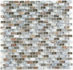 ISI  North Shore Series, Uniform Brick, Smoke, Glossy, Frosted & Unpolished, Grey, Glass, Stone & Shell