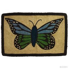 Butterfly Jute Doormat  Large, welcoming doormat constructed of coiled jute, overstitched with threads in coordinating colors. Natural jute reverse. #fairtrade www.serrv.org