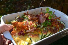 Kylling bagt med zucchini, bacon og mozarella - Majspassion
