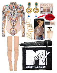 """""""VMAs 2016 Performance"""" by saav003 ❤ liked on Polyvore featuring The Blonds, Balmain, BP., Dolce&Gabbana, Prada, Lime Crime and NARS Cosmetics"""