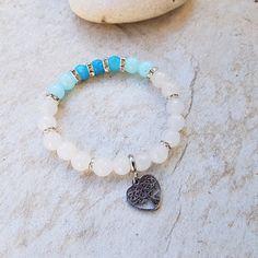 křišťál,kalcit, blue sky sediment synt 2 Turquoise Bracelet, Blues, Beaded Bracelets, Sky, Jewelry, Heaven, Jewlery, Jewerly, Pearl Bracelets