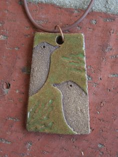 Moss Green and Brown Rustic Bird Pendant 2 by muddyfingers on Etsy