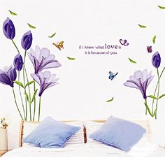 Fans Purple Lily Flowers Removable Vinyl Wall Decals Stickers Mural Art Home Decor DIY M >>> Find out more about the great product at the image link. (Note:Amazon affiliate link)