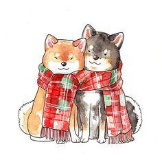 Christmas shiba inu [Sticker] by Dliok Shiba Inu, Cute Animal Drawings, Cute Drawings, Chiba, Bebidas Energéticas Monster, Dog Illustration, Cute Chibi, Kawaii Art, Dog Art