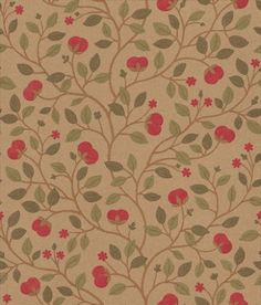 Medlar (BW45025/2) - G P & J Baker Wallpapers - A pretty and delicate floral flower and leaf trail design in red and gold.