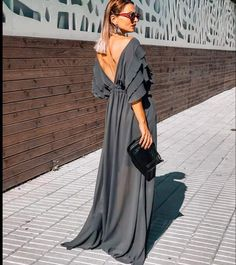 Product Details: V-neck Ruffled Sleeves Empired Waistline A-Line Maxi Dress for Evening Size Chart: Size Bust Waist Hips inch cm inch cm inch cm S 36 M L XL 3 Elegant Outfit, Elegant Dresses, Casual Dresses, Trendy Outfits, Trendy Fashion, Women's Fashion, Satin Dresses, Gowns, Dress Outfits