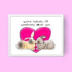 digital download bunny rabbit valentine drawing by twoadoptedbuns
