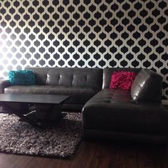 Cutting Edge Stencils shares ten DIY home decorating ideas using the Moroccan Cascade Stencil patterns. Wall Stencil Patterns, Cutting Edge Stencils, Tropical Decor, Of Wallpaper, Cool Walls, Textures Patterns, Interior Styling, House Design, Decorating Ideas