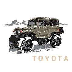 Toyota Land Cruiser, Land Cruiser 4x4, Land Cruiser 70 Series, Auto Jeep, Jeep 4x4, Toyota Fj40, Toyota Trucks, Jeep Stickers, Car Illustration
