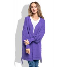 Cardigan de dama violet cu maneci lungi bufante Cardigan, Violet, Sweaters, Fashion, Tricot, Moda, Fashion Styles, Sweater, Fashion Illustrations