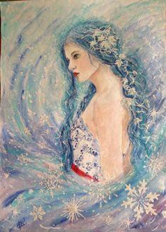 Blu. Dama delle nevi. Acrilico su carta