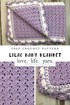 This lilac meadows baby blanket is so pretty and simple! The crochet pattern is super easy to foll Crochet Baby Blanket Beginner, Baby Girl Crochet Blanket, Crochet Baby Blanket Free Pattern, Free Crochet, Easy Crochet Baby Blankets, Crochet Baby Afghans, Simple Crochet Blanket, Crochet Afgans, Crochet Bear