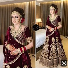 She to me is an impressive manifestation of beauty, deep brown eyes , maroon lehenga carefully woven and decorated with zari, jewelled with… Wedding Lehnga, Indian Bridal Lehenga, Indian Bridal Outfits, Indian Bridal Fashion, Indian Bridal Wear, Pakistani Bridal Dresses, Indian Dresses, Dress Wedding, Wedding Hijab