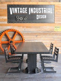 Designs by Vintage Industrial in Phoenix - I Beam dining table, Zen chairs, wooden orange gear...