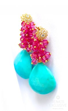 """Sleeping Beauty Turquoise and Pink Quartz Earrings """"Style"""" - Handmade Jewelry - Renate Exclusive - 1"""