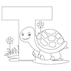 Printable Alphabet Coloring Pages Collection. Well, what do you think about alphabet coloring pages? Before recognizing it more, let's check what alphabet is! Animal Alphabet, Alphabet For Kids, Alphabet Art, Printable Alphabet, Alphabet Worksheets, Alphabet Activities, Kids Letters, Alphabet Phonics, Turtle Coloring Pages