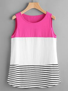 To find out about the Color Block Striped Curved Hem Tank Top at SHEIN, part of our latest Tank Tops & Camis ready to shop online today! Sewing Clothes, Diy Clothes, Clothes For Women, Diy Fashion, Fashion Outfits, Womens Fashion, Fashion Design, Blouse Styles, Blouse Designs