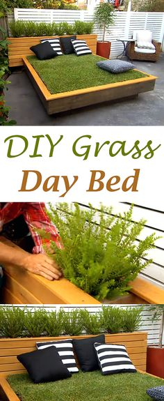 Turn your extra outdoor space into your favorite escape with this DIY day bed grass! | Check Out This Crazy DIY Grass Day Bed | See video and written instructions: http://gwyl.io/check-crazy-diy-grass-day-bed/