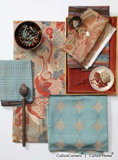 Spice Island Fabric Collection    Confetti Toss in Peacock. Beyzade in Multi. Riviera Stripe in Inca. Cashmere in Ruby. Como in Rust. Plush Dotscape in Peacock.