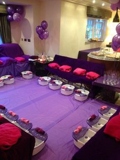 is a simple purple girls spa party, purple spa parties for kids and teenagers are great, purple is an alternative colour to the usual pink spa parties and looks great when accessorised with pink. in 2016 this is our most popular party theme along. Sleepover Birthday Parties, Girl Sleepover, Birthday Party For Teens, Birthday Party Themes, Teen Parties, Teen Birthday, Birthday Ideas, Paris Birthday, Teen Party Themes