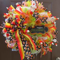 Halloween Deco Mesh Wreath  Halloween Wreath  by FestivalofWreaths, $95.00