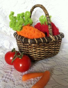 Nylon Pot Scrubber, 4 Vegetable Scrubbies, 3 Carrots and 1 Tomato  In a Farm  Basket, Cute! Cute! Cute! - Gift For Him or Her #Etsy #EtsyRMP