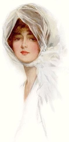 Gibson lady in white by Harrison Fisher