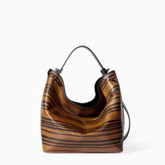 Image 1 of PRINTED LEATHER BUCKET BAG from Zara