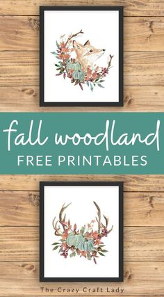 Grab these FREE woodland watercolor printables to update your seasonal gallery walls. Fall home decor printables.