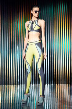 herve leger by max azria, resort 2014, swimsuit with a wet suit look