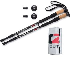 Walking | Hiking | Trekking Poles [2-Pack] | ONE YEAR WARRANTY | Retractable to 26 inches | Strong Lightweight Aircraft Aluminum | Comfortable Cork Grips | Sticks Include Extra Tips and Carrying Bag * Check this awesome image  : Camping stuff