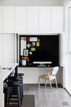 This Art Deco home on Sydney's lower north shore had seen better days, but thanks to a masterful restoration by interior designer Brooke Aitken it is now this family's forever home. Take a look inside. Home Office Design, Home Office Decor, House Design, Home Decor, Design Design, Hidden Desk, Built In Desk, Room Layout Design, Desk In Living Room