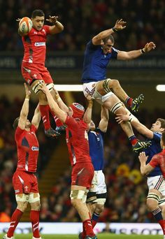 Wales' Toby Faletau claims the lineout