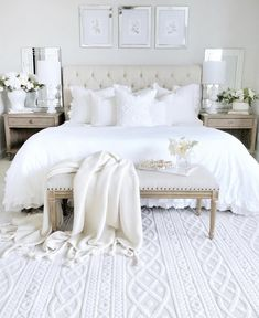 Here is a stunning white bedroom from ! What do you think of … Happy Hump Day! Here is a stunning white bedroom from ! Dream Bedroom, Home Decor Bedroom, Master Bedroom, Modern Bedroom, Cream Bedroom Decor, Cream Bedroom Furniture, Bedroom Pics, Cream Decor, Contemporary Bedroom Decor