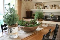 Nice tablescape, like the rustic look. The background is pretty fab too! Christmas Tabletop, Christmas Frames, Green Christmas, Country Christmas, Simple Christmas, Christmas Diy, Christmas Decorations, Holiday Decor, Holiday Ideas