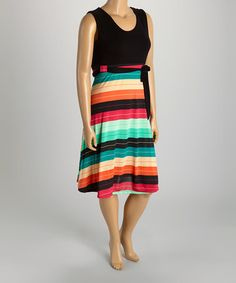 Another great find on #zulily! Black & Teal Stripe Sash Sleeveless Dress - Plus #zulilyfinds